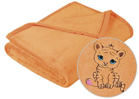 Dětská deka s výšivkou lososová