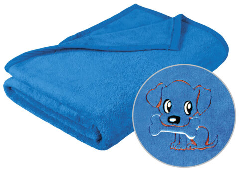 Dětská deka s výšivkou modrá