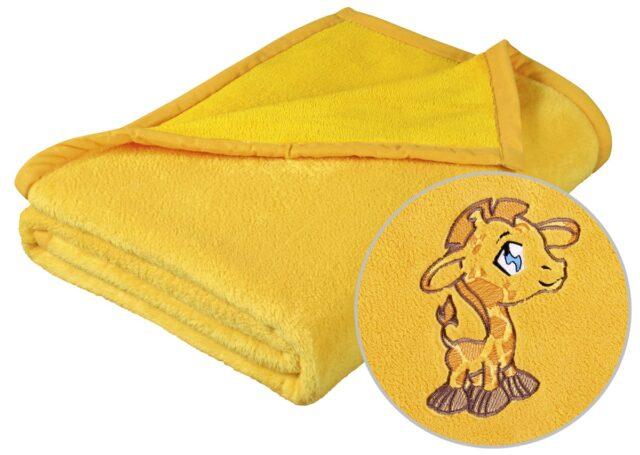 Dětská deka s výšivkou žlutá